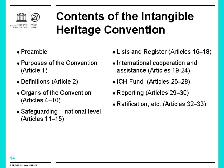 Contents of the Intangible Heritage Convention ● Preamble ● Lists and Register (Articles 16–