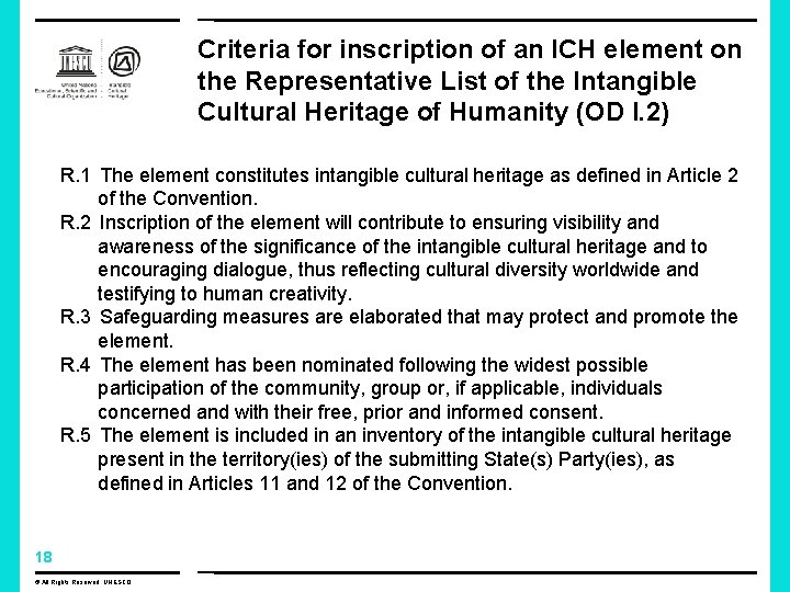 Criteria for inscription of an ICH element on the Representative List of the Intangible