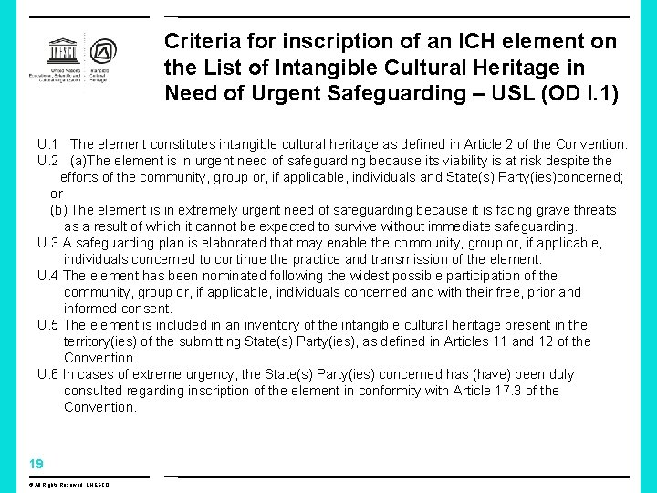 Criteria for inscription of an ICH element on the List of Intangible Cultural Heritage