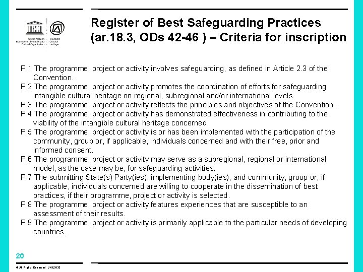 Register of Best Safeguarding Practices (ar. 18. 3, ODs 42 -46 ) – Criteria