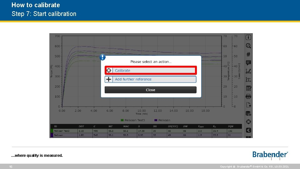 How to calibrate Step 7: Start calibration …where quality is measured. 16 Copyright ©