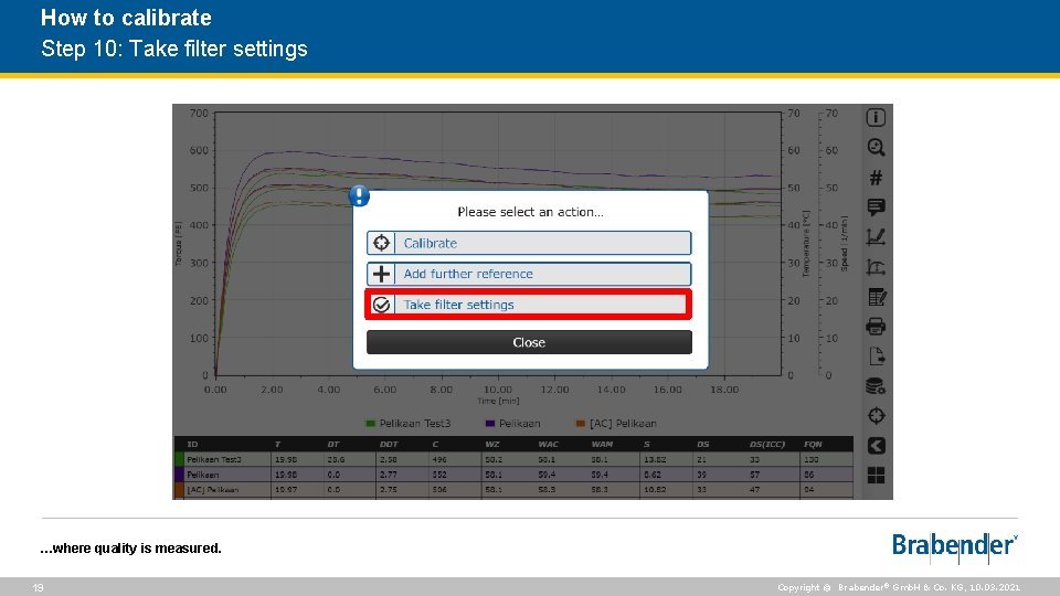 How to calibrate Step 10: Take filter settings …where quality is measured. 19 Copyright