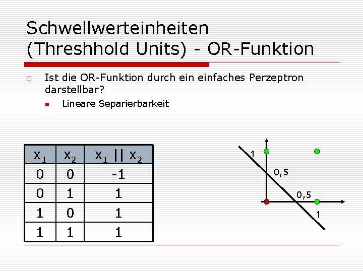 Schwellwerteinheiten (Threshhold Units) - OR-Funktion o Ist die OR-Funktion durch einfaches Perzeptron darstellbar? n
