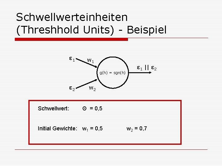 Schwellwerteinheiten (Threshhold Units) - Beispiel ε 1 w 1 g(h) = sgn(h) ε 2