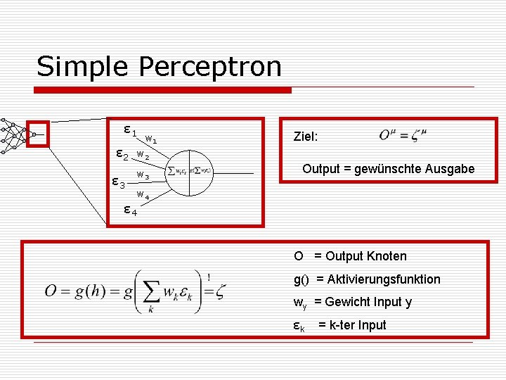 Simple Perceptron ε 1 ε 2 w 1 w 2 w 3 ε 4