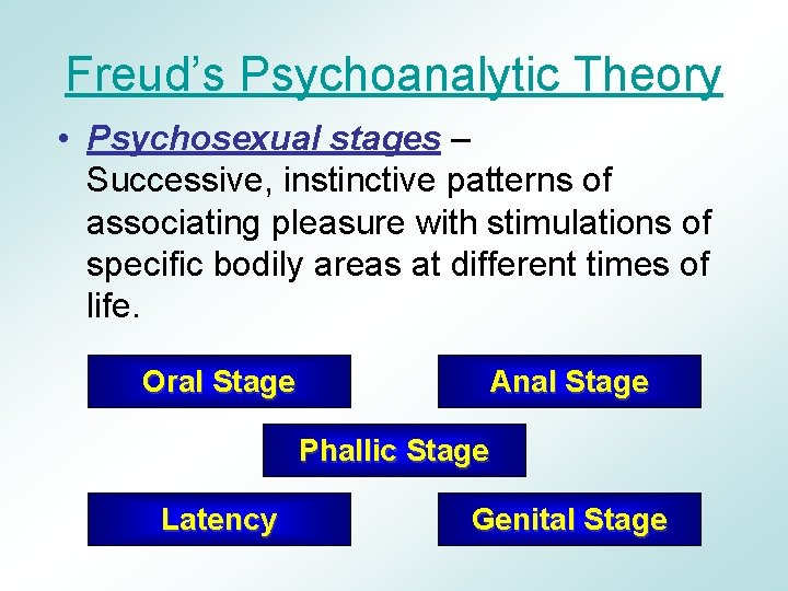 Freud's Psychoanalytic Theory • Psychosexual stages – Successive, instinctive patterns of associating pleasure with