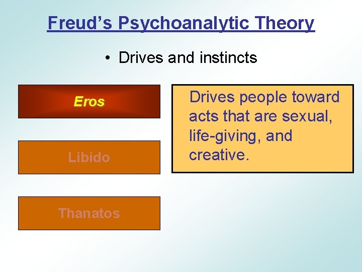 Freud's Psychoanalytic Theory • Drives and instincts Eros Libido Thanatos Drives people toward acts