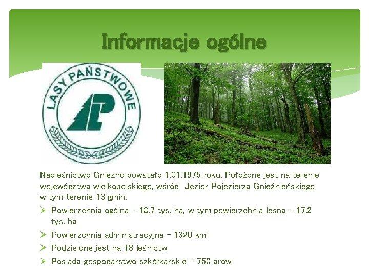 Informacje ogólne Nadleśnictwo Gniezno powstało 1. 01. 1975 roku. Położone jest na terenie województwa