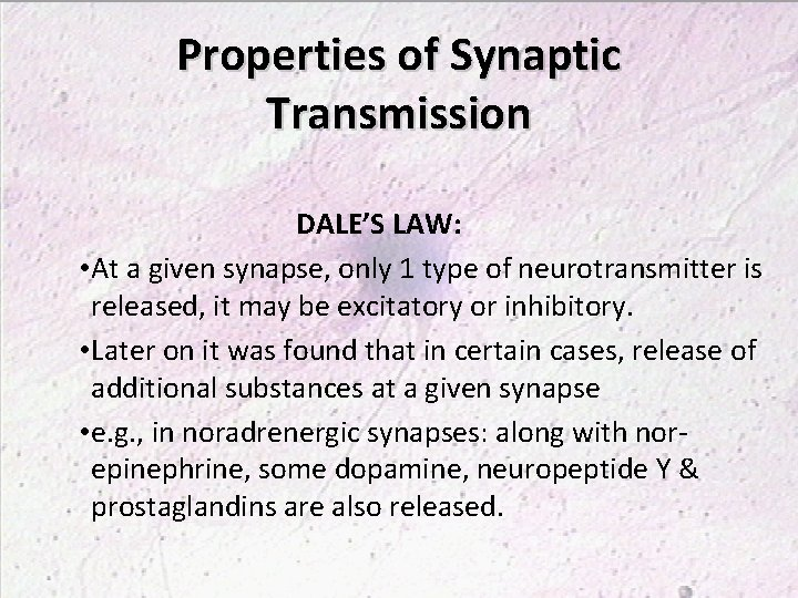 Properties of Synaptic Transmission DALE'S LAW: • At a given synapse, only 1 type