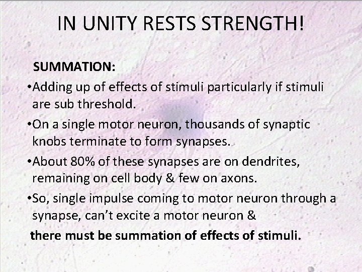 IN UNITY RESTS STRENGTH! SUMMATION: • Adding up of effects of stimuli particularly if