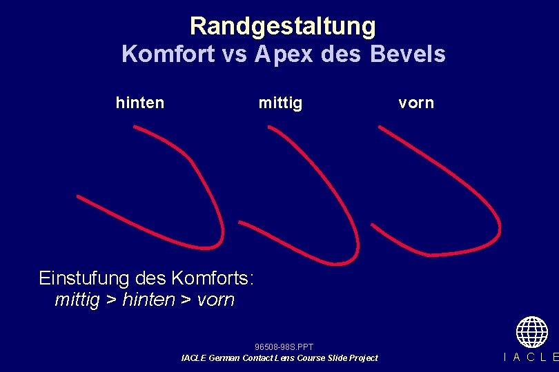 Randgestaltung Komfort vs Apex des Bevels hinten mittig vorn Einstufung des Komforts: mittig >