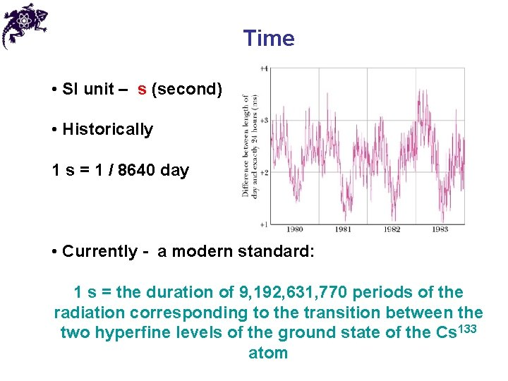 Time • SI unit – s (second) • Historically 1 s = 1 /