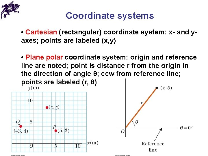Coordinate systems • Cartesian (rectangular) coordinate system: x- and y- axes; points are labeled