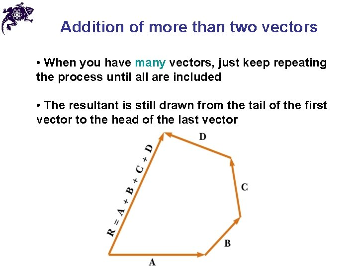 Addition of more than two vectors • When you have many vectors, just keep
