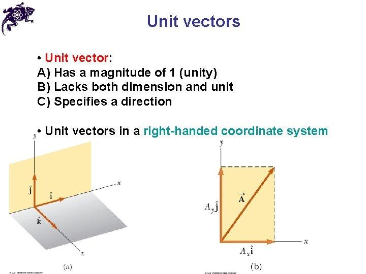 Unit vectors • Unit vector: A) Has a magnitude of 1 (unity) B) Lacks