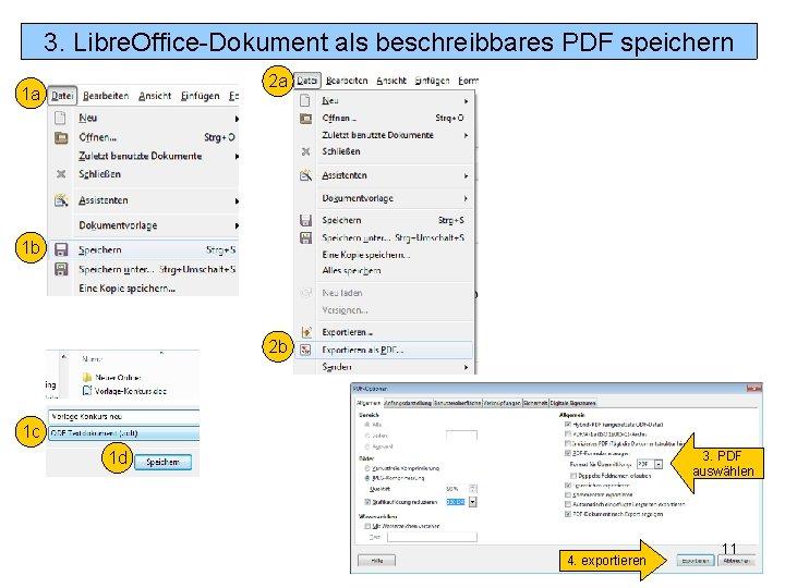 3. Libre. Office-Dokument als beschreibbares PDF speichern 2 a 1 a 1 b 2