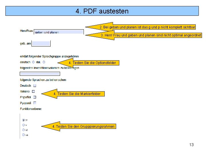 4. PDF austesten 2. Bei geben und planen ist das g und p nicht