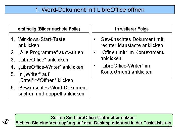 1. Word-Dokument mit Libre. Office öffnen erstmalig (Bilder nächste Folie) 1. Windows-Start-Taste anklicken 2.