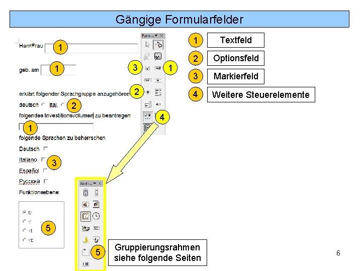 Gängige Formularfelder 1 3 1 1 2 1 Textfeld 2 Optionsfeld 3 Markierfeld 4