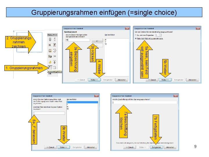 Gruppierungsrahmen einfügen (=single choice) 5 b Weiter 5 a Nein, kein Feld soll ausgewählt