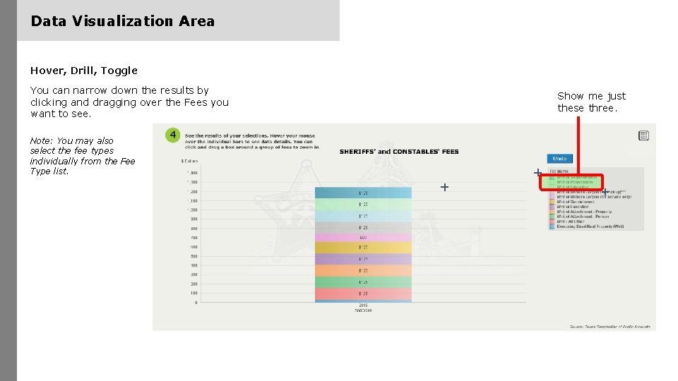 Data Visualization Area Hover, Drill, Toggle You can narrow down the results by clicking