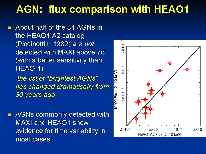 AGN: flux comparison with HEAO 1 n About half of the 31 AGNs in