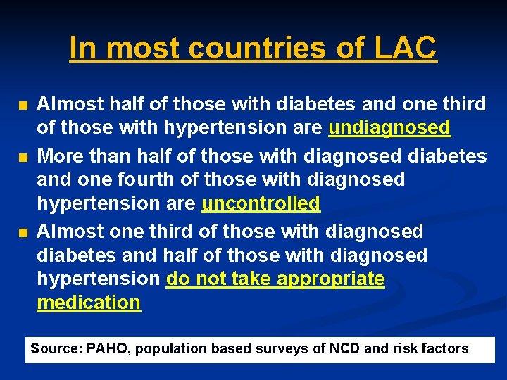In most countries of LAC n n n Almost half of those with diabetes