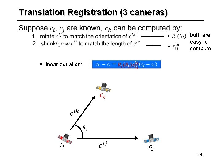 Translation Registration (3 cameras) A linear equation: both are easy to compute ck ci