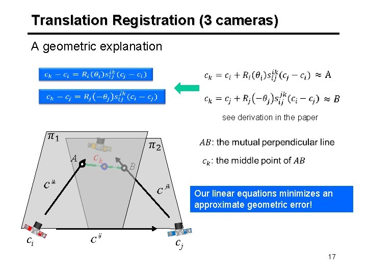 Translation Registration (3 cameras) A geometric explanation see derivation in the paper A ck