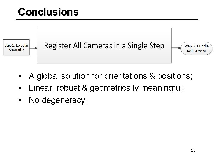 Conclusions • A global solution for orientations & positions; • Linear, robust & geometrically
