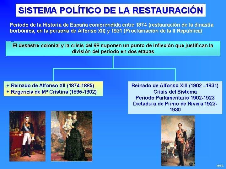 SISTEMA POLÍTICO DE LA RESTAURACIÓN Periodo de la Historia de España comprendida entre 1874