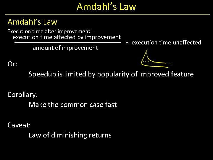 Amdahl's Law Execution time after improvement = execution time affected by improvement amount of
