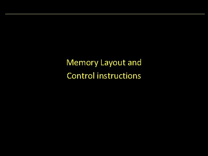 Memory Layout and Control instructions