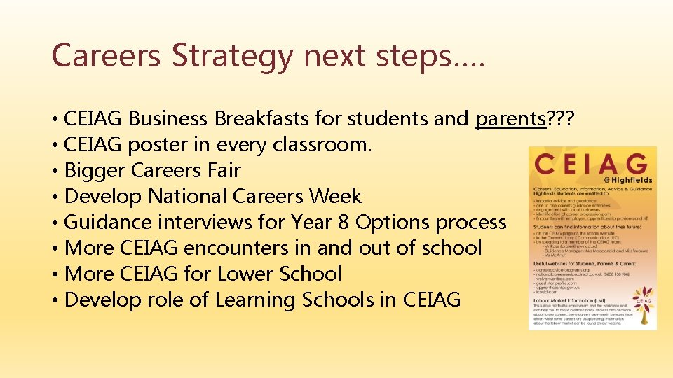 Careers Strategy next steps…. • CEIAG Business Breakfasts for students and parents? ? ?