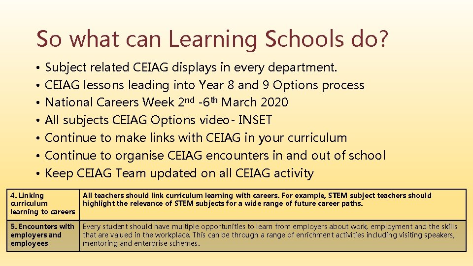 So what can Learning Schools do? • • Subject related CEIAG displays in every