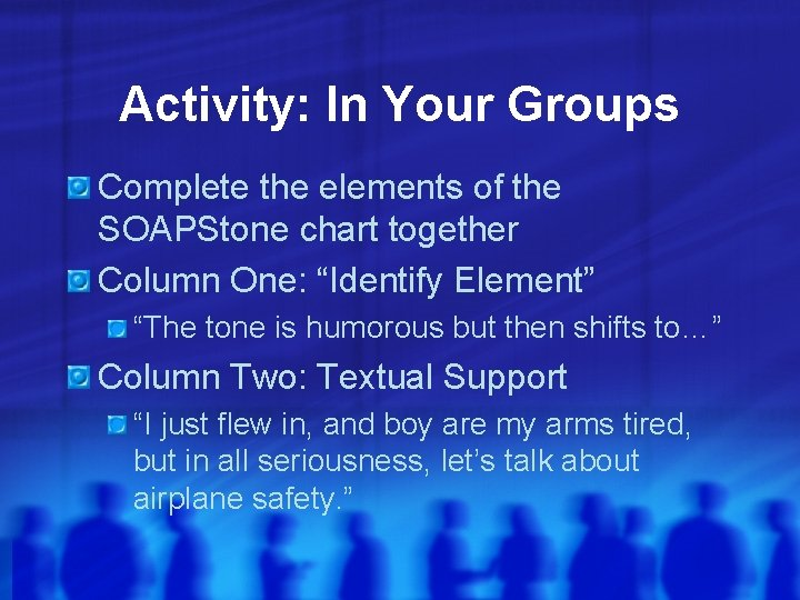 Activity: In Your Groups Complete the elements of the SOAPStone chart together Column One: