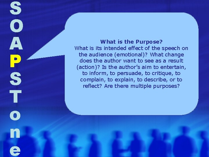S O A P S T o n e What is the Purpose? What