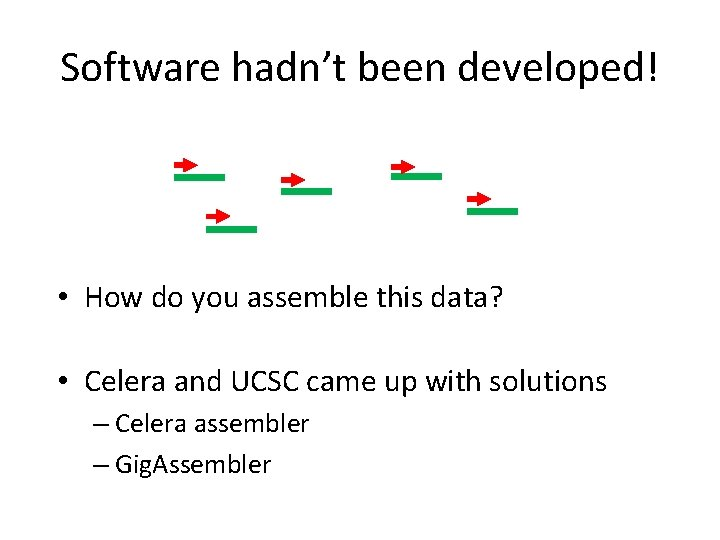 Software hadn't been developed! • How do you assemble this data? • Celera and