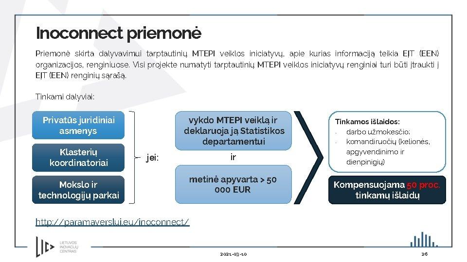 Inoconnect priemonė Priemonė skirta dalyvavimui tarptautinių MTEPI veiklos iniciatyvų, apie kurias informaciją teikia EĮT