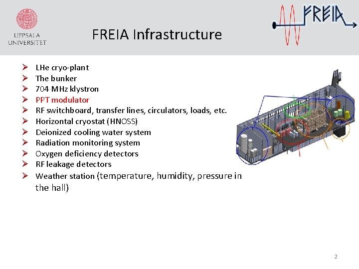 FREIA Infrastructure Ø Ø Ø LHe cryo-plant The bunker 704 MHz klystron PPT modulator