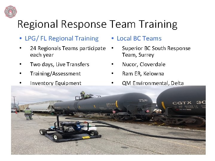Regional Response Team Training • LPG/ FL Regional Training • Local BC Teams •