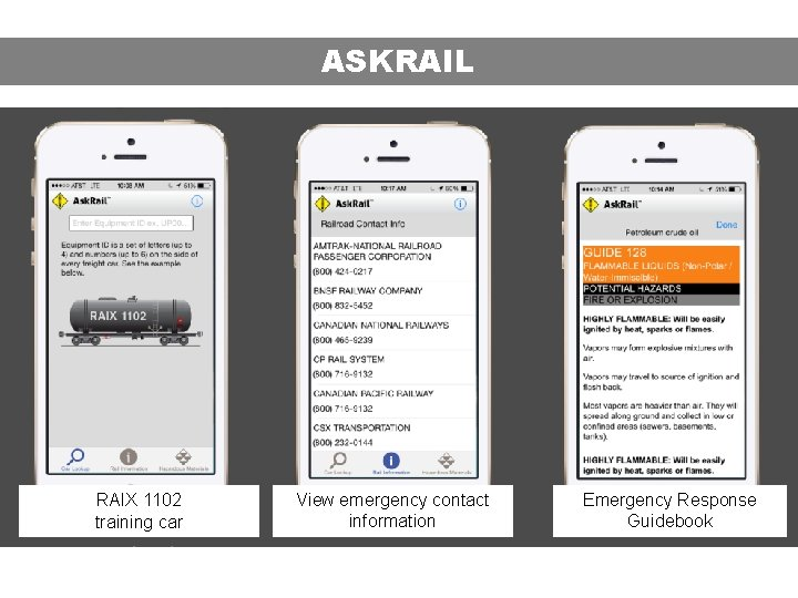 ASKRAIL RAIX 1102 training car View emergency contact information Emergency Response Guidebook