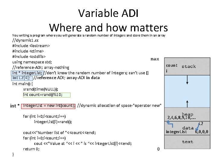Variable ADI Where and how matters You writing a program where you will generate