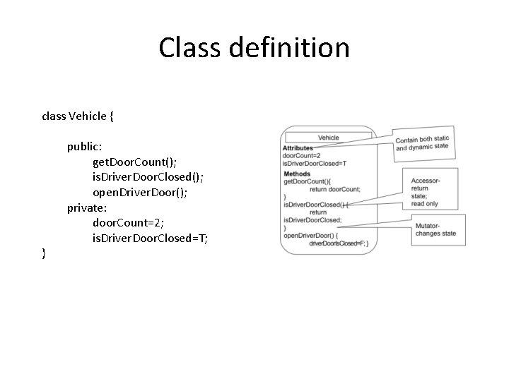Class definition class Vehicle { } public: get. Door. Count(); is. Driver. Door. Closed();
