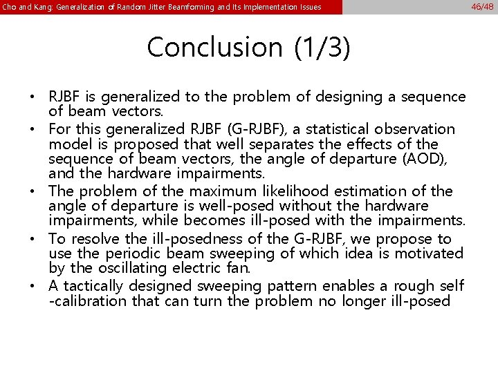 Cho and Kang: Generalization of Random Jitter Beamforming and Its Implementation Issues Conclusion (1/3)