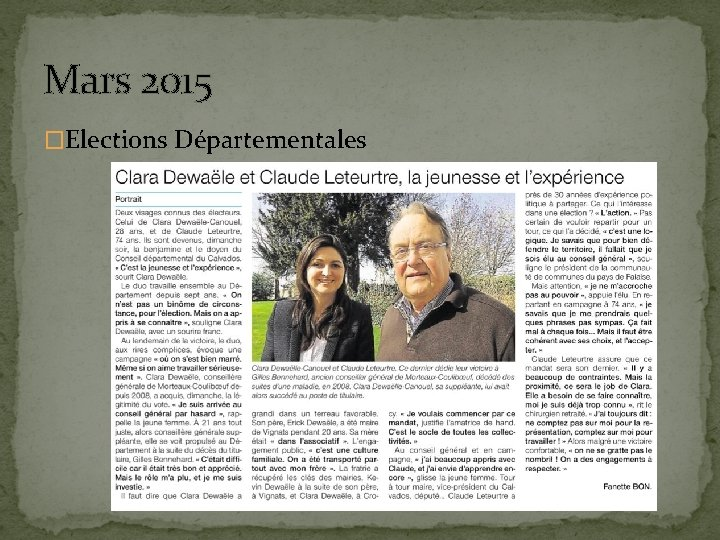 Mars 2015 �Elections Départementales