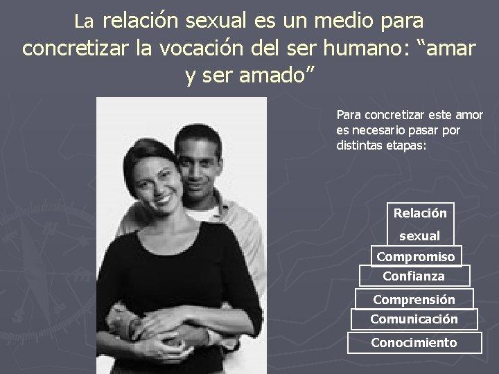 """La relación sexual es un medio para concretizar la vocación del ser humano: """"amar"""