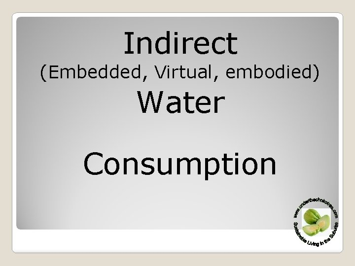 Indirect (Embedded, Virtual, embodied) Water Consumption