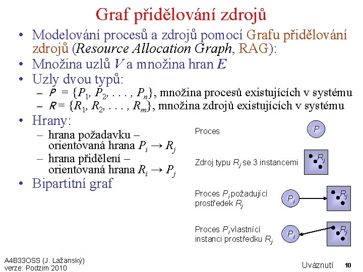 Graf přidělování zdrojů • Modelování procesů a zdrojů pomocí Grafu přidělování zdrojů (Resource Allocation