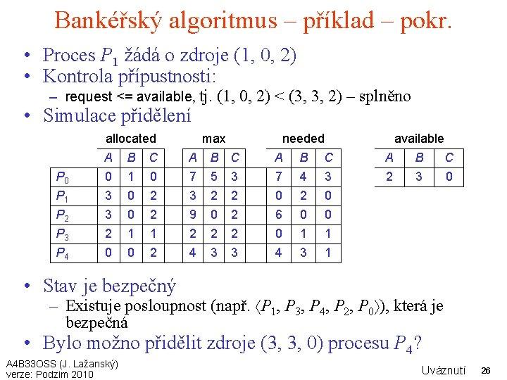 Bankéřský algoritmus – příklad – pokr. • Proces P 1 žádá o zdroje (1,